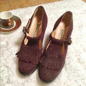 Anne Klein Burgundy Suede Shoes